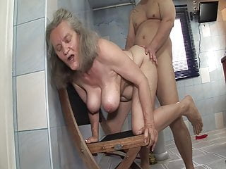 Granny Dildo Shower video: Shameless sex with granny in the bathroom