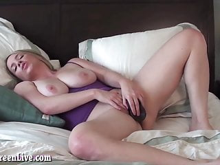 Busty maggie green plays with toy in pussy...