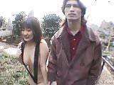 Subtitled JAV public nudity string bikini graveyard blowjob