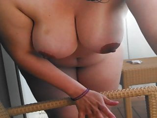 Wife stripping at balcony