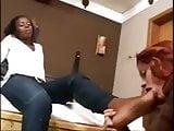 Ebony Lesbian Has Her Feet Worshiped