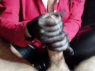 Handjob in Lace Gloves and Condom Play