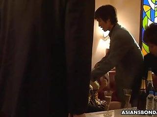 Bondage Big Tits Blowjob video: Curvaceous brunette, Kaoru Hirayama got DP, uncensored
