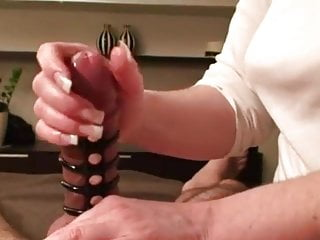 Amazing edging handjob ends by big cumshot