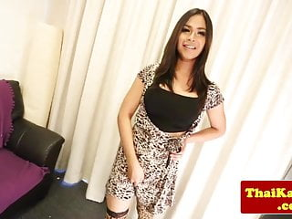Busty thai shemale tgirl plays with her cock...