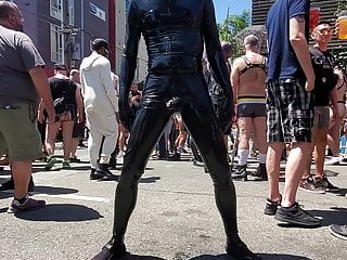 Me cumming loudly in public in latex at Dore Alley Fair 2019