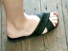 Candid feet --- Norwegian red coloured toes