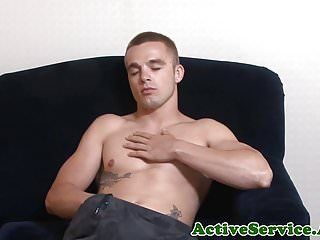 Tugging his fat cock in closeup...