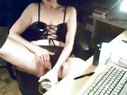 My mum masturbates at computer. Hidden cam